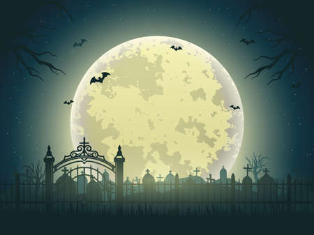 Halloween night vintage background of cemetery with gravestones dry trees flying bats and moon vector illustration