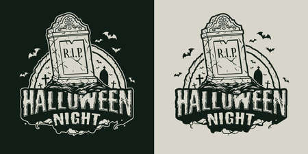 Halloween vintage emblem with lettering tombstone and flying bats in monochrome style isolated vector illustration