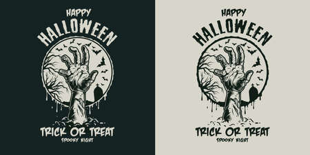 Vintage Halloween scary badge with zombie hand and letterings on dark and light backgrounds isolated vector illustration