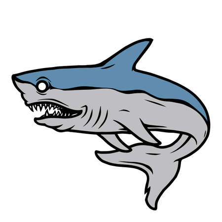 Angry shark vintage colorful template isolated vector illustration 矢量图像