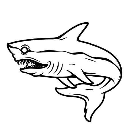 Dangerous ferocious shark tattoo concept in vintage monochrome style isolated vector illustration