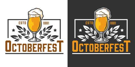 Oktoberfest festival vintage emblem with glass full of beer isolated vector illustration 矢量图像