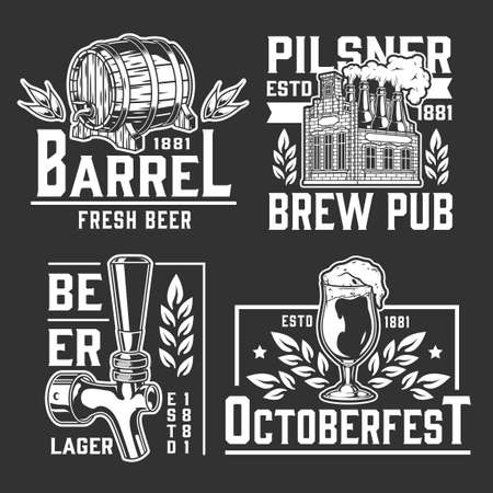 Beer vintage monochrome logos collection with different inscriptions wheat ears glass of foamy drink tap wooden barrel brewery with bottles instead of chimneys isolated vector illustration