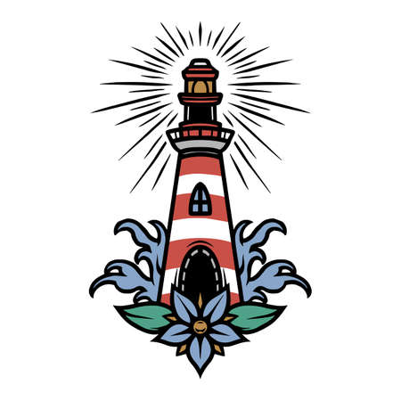 Vintage marine colorful tattoo concept with lighthouse flower and sea waves isolated vector illustration 矢量图像
