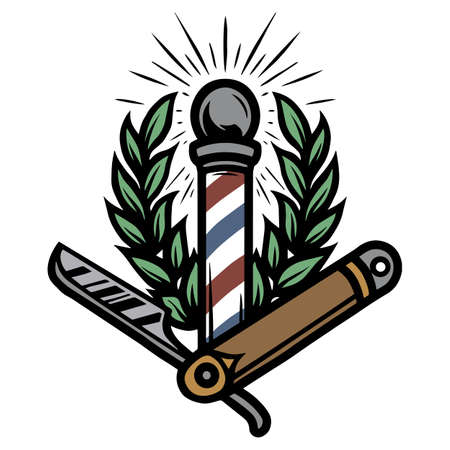 Colorful barbershop vintage tattoo template with barber pole straight razor and laurel wreath isolated vector illustration