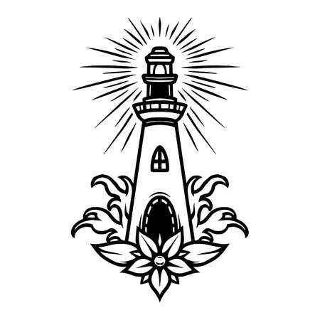 Nautical tattoo vintage concept with lighthouse beautiful flower and sea waves in monochrome style isolated vector illustration