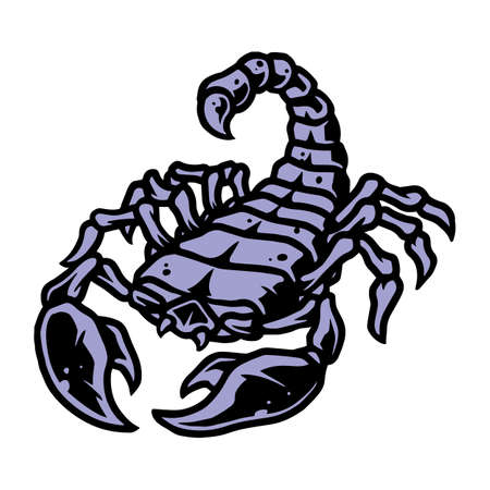 Colorful tattoo vintage concept of scorpio isolated vector illustration
