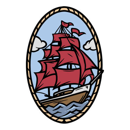 Sailing ship colorful tattoo concept in vintage style isolated vector illustration