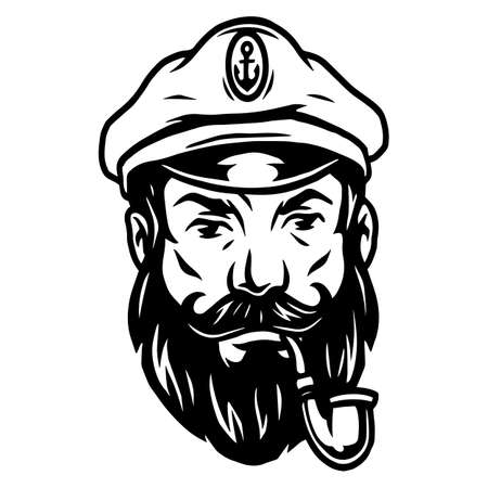 Vintage nautical tattoo concept with sea captain with beard and smoking pipe in monochrome style isolated vector illustration