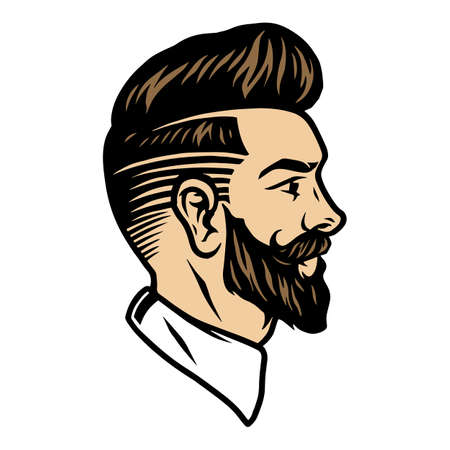 Bearded man with trendy hairstyle concept in vintage style isolated vector illustration