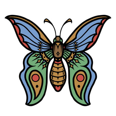 Beautiful colorful butterfly vintage concept on white background isolated vector illustration