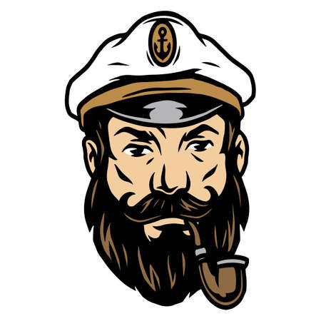 Tattoo concept of bearded sea captain in hat with smoking pipe in vintage style isolated vector illustration