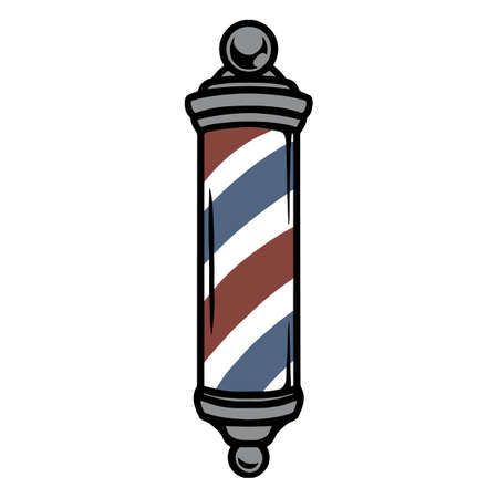Striped barber metal pole vintage concept on white background isolated vector illustration 矢量图像