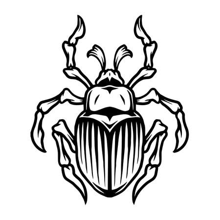 Monochrome tattoo template of beetle in vintage style isolated vector illustration
