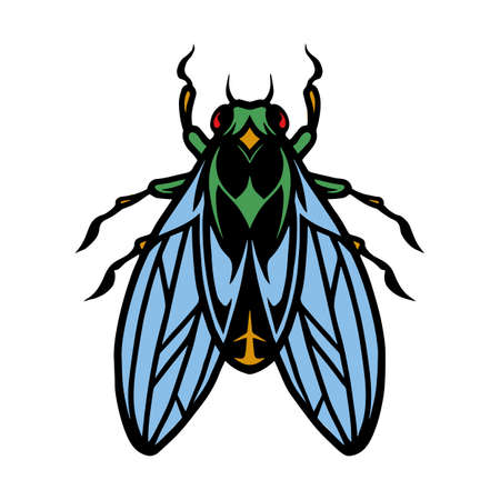 Fly insect colorful vintage concept on white background isolated vector illustration