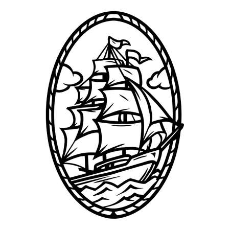 Vintage monochrome nautical tattoo concept with ship at sea isolated vector illustration 矢量图像