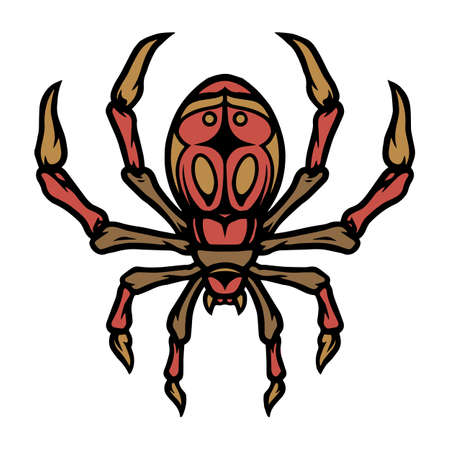Colorful spider tattoo template in vintage style isolated vector illustration