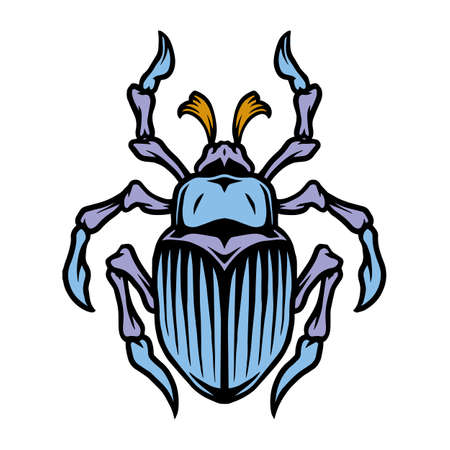 Colorful bug tattoo concept in vintage style isolated vector illustration