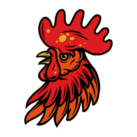 Colorful rooster head with red crest in vintage style isolated vector illustration