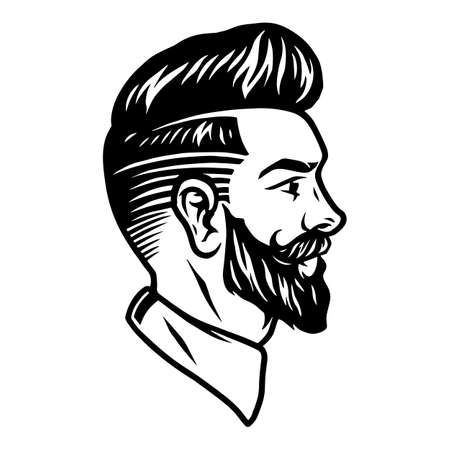 Bearded stylish man vintage tattoo concept in monochrome style isolated vector illustration