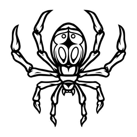 Spider vintage tattoo concept in monochrome style isolated vector illustration 矢量图像