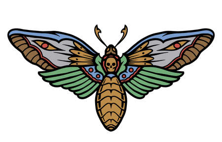 Death's head moth colorful concept in vintage style isolated vector illustration