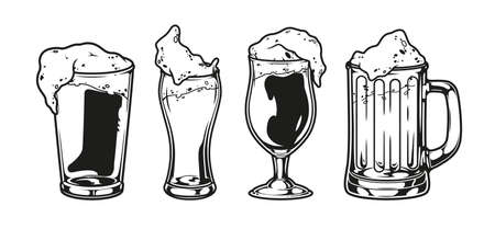 Vintage brewing monochrome composition with glasses and cups of beer isolated vector illustration