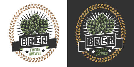 Brewing vintage colorful badge with green hop cones and wheat ears on dark and light backgrounds isolated vector illustration