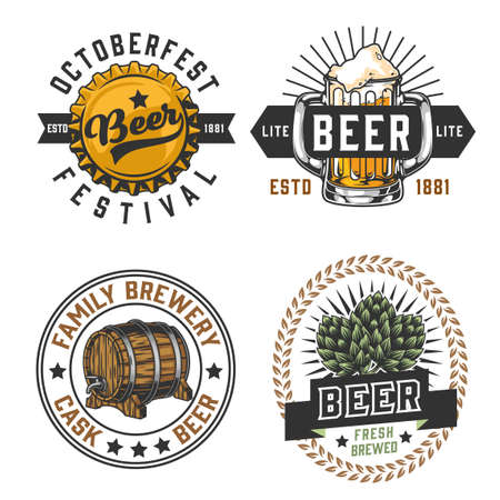 Vintage brewing colorful emblems with beer bottle cap mug wooden barrel and hop cones isolated vector illustration