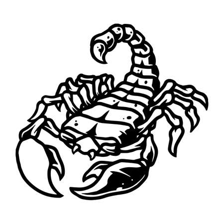 Scorpion vintage tattoo template in black and white colors isolated vector illustration