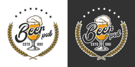 Beer pub vintage colorful emblem with glass full of fresh foamy drink and wheat ears isolated vector illustration