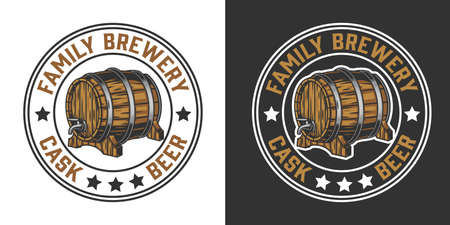 Vintage brewing round emblem with beer wooden barrel with tap isolated vector illustration