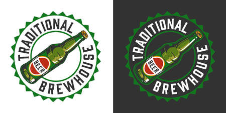 Brewery colorful vintage badge with inscription beer bottle and cap shape on light and dark backgrounds isolated vector illustration 矢量图像