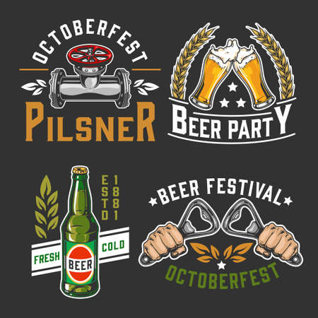 Beer colorful vintage designs set with brewing emblems and labels on dark background isolated vector illustration
