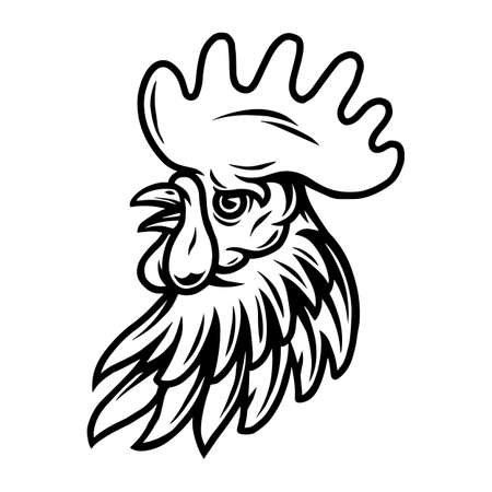 Rooster head vintage tattoo concept in monochrome style isolated vector illustration