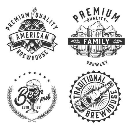 Beer vintage monochrome badges collection with hop cone glass bottle and mugs full of foamy alcoholic drink isolated vector illustration