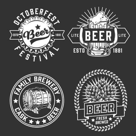Beer vintage monochrome  with inscriptions hop cones bottle cap wooden barrel mug on dark background isolated vector illustration