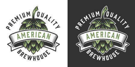Brewhouse vintage emblem with green hop cone and inscriptions isolated vector illustration