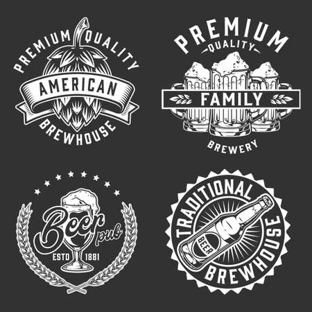 Brewery vintage emblems set with inscriptions hop cone wheat ears beer cups bottle and glass in monochrome style isolated vector illustration