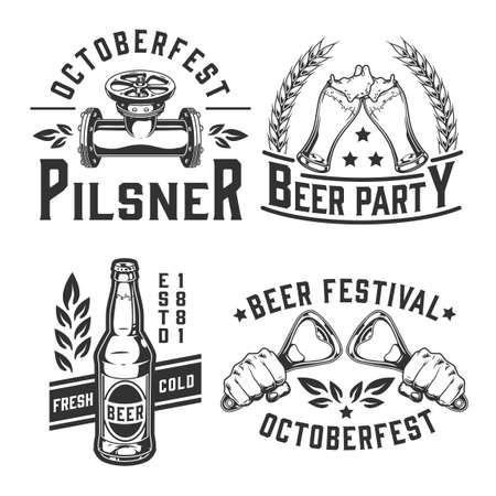Beer festival vintage monochrome emblems with inscriptions male hands holding bottle openers pipe with valve glasses and bottle full of foamy alcoholic drink isolated vector illustration 矢量图像