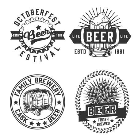 Monochrome brewery emblems set in vintage style with beer mug bottle cap hop cones wooden barrel with tap isolated vector illustration