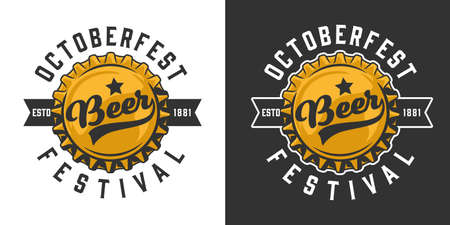 Octoberfest colorful   beer bottle cap and inscriptions in vintage style isolated vector illustration