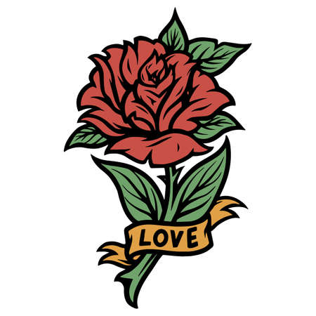 Rose with ribbon and Love inscription in vintage style isolated vector illustration