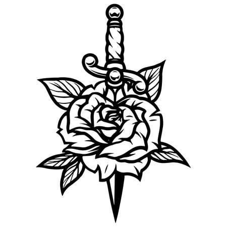 Beautiful rose pierced with dagger in vintage monochrome style isolated vector illustration