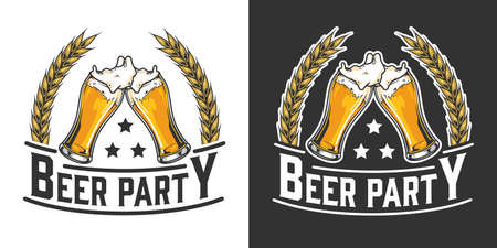 Beer party vintage emblem with wheat ears and glasses full of foamy drink isolated vector illustration 矢量图像