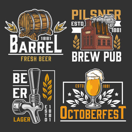 Brewing vintage  set with beer glass wooden cask tap and brick brewery with bottles instead of chimneys isolated vector illustration