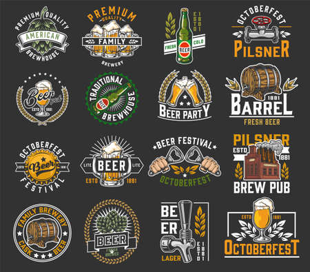 Beer colorful designs collection in vintage style with brewing labels and emblems isolated vector illustration