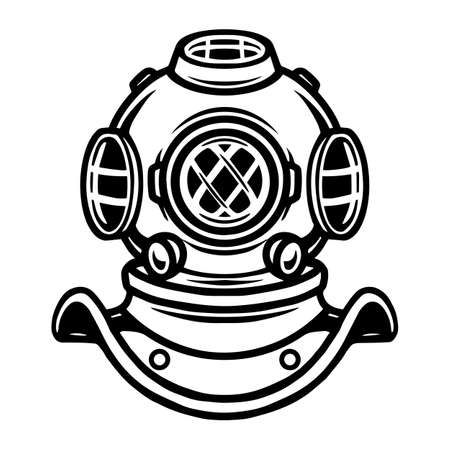 Tattoo concept of old diving helmet in vintage monochrome style isolated vector illustration