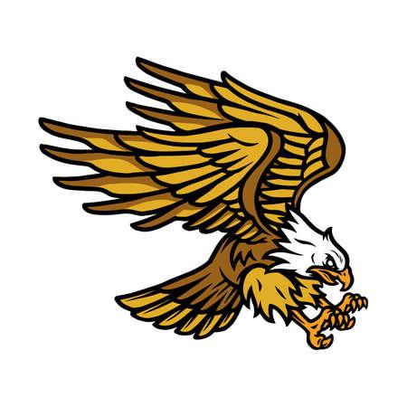 Big flying eagle vintage concept on white background isolated vector illustration 矢量图像