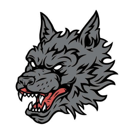 Gray angry dangerous wolf head concept on white background isolated vector illustration